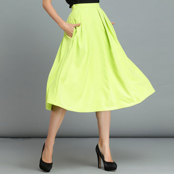 Fluorescent Colored Pleated Midi Skirt