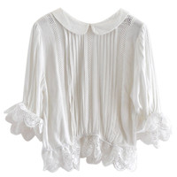 White Peter Pan Collar Lace Ruffled Half Sleeve Blouse