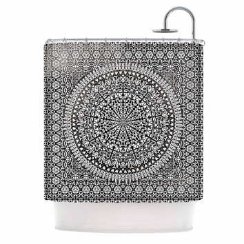 "Nika Martinez ""Mandala Bandana"" Black Abstract Shower Curtain"