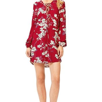 Cherry Bloom Lace Up Dress
