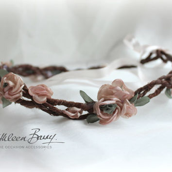 R450 Rustic blossom crown Bridal flower garland - Colors to order - Wedding hair accessories