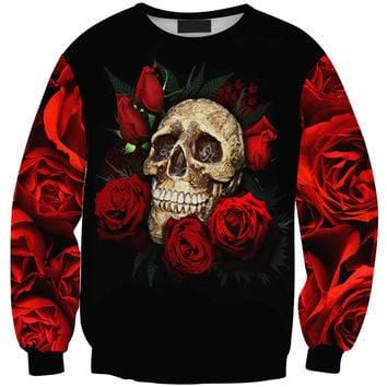 Pullover Women's Fashion Long Sleeve Print Skull Tee T-shirts