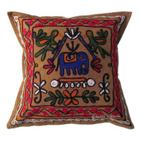 Vintage Indian Embroidered Animal Design Decorative Throw Pillow Case