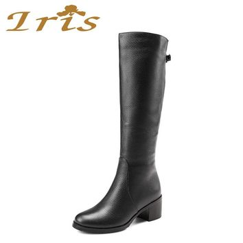 IRIS Winter Warm Wool Fur Over Knee Boots Black Genuine Leather Handmade High Quality Fashion Snow Boots Women Shoes 2017 New
