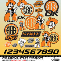 Oklahoma State Cowboys Monogram Frame, Logos, Numbers. Digital Cut Files. SVG, dxf, eps, pdf for Silhouette, Cricut vinyl Die Cutting SF-191
