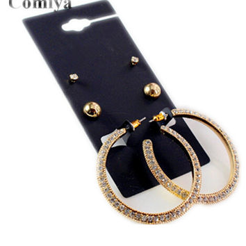 Gold Comiya brand gold plated stud earring rhinestone fashion jewelry brinco boucle doreille femme cc statement earrings brincos