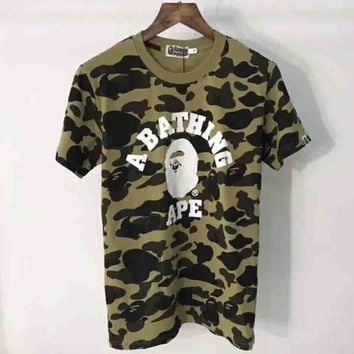 Bape Trending Fashion Casual Camouflage Print Logo Short Sleeve T-shirt G-ALG-CPFS-1