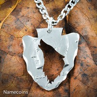 Arrowhead Howling Wolf Necklace from Half Dollar