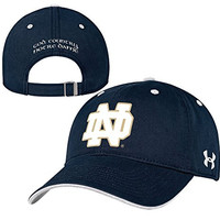 Under Armour NCAA Notre Dame Fighting Irish Structured Cotton Adjustable Hat Cap-Navy-God,Country,Notre Dame on back