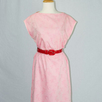 Vintage 1980's PINK Valentines Day Dress Pretty Asian Print