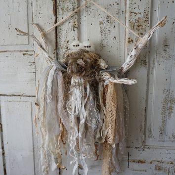 Nesting owls wall hanging rustic farmhouse tattered lace and muslin home decor