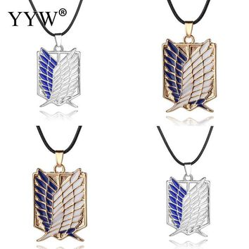 Cool Attack on Titan 2018 Fairy Pendant Necklace Anime  Pendant Necklace Sliver Gold Color Plated Charm Chain Anime Lover AT_90_11