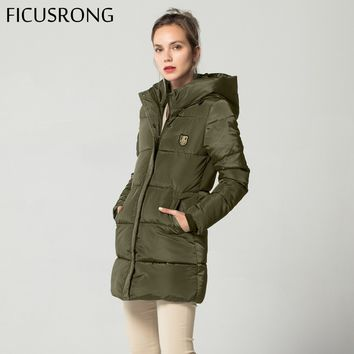 Trendy New Long Basic Jacket Female Women Winter Hooded Coat Thick Cotton Jacket Womens Outerwear Tops casaco feminino FICUSRONG 2018 AT_94_13