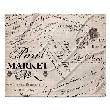 "Sylvia Cook ""French Script"" Handwriting Fleece Throw Blanket"