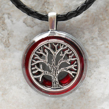 tree of life necklace: marsala - mens jewelry - celtic jewelry - mens necklace - boyfriend gift - leather necklace - unique gift - wiccan