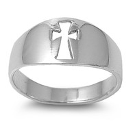 925 Sterling Silver Messiah Cross 8MM Ring