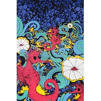 Handmade 100% Cotton 3D Psychedelic Seahorse Under Sea Party Tapestry Tablecloth Beach Sheet 60x90