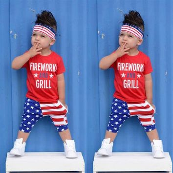 4th of July US Flag Independence Day Stars and Stripe Patriotic Shirt Shorts Set