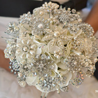 Classic heirloom pearl brooch bouquet -- deposit on a made-to-order wedding brooch bouquet
