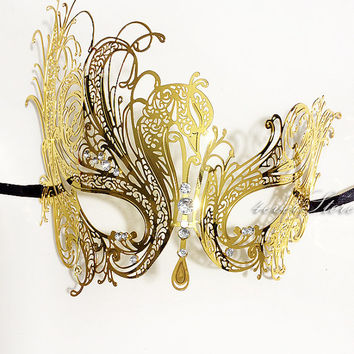 Elegant Gold Laser Cut Venetian Mardi Gras Masquerade Mask with Sparkling Rhinestones - Made with Light Metal
