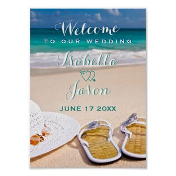Welcome Sign | Turquoise Ocean Beach Wedding