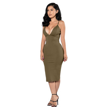 Solid Color Spaghetti Strap Bandage Dress