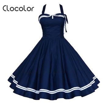 Clocolor 2016  Women Vintage Dresses Summer spring Elegant Dark blue red Sleeveless  Rockabilly Club Party Dresses vintage dress