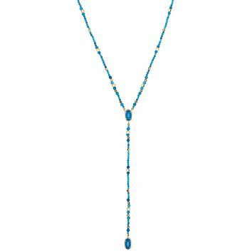 Kendra Scott: Bethany Gold Y Necklace In Teal Agate
