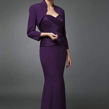 Daymor Couture - 7003 Strapless Sweetheart Mermaid Gown with Bolero