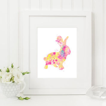 Bunny Art Print, Rabbit Art Print, Bunny Painting, Rabbit Painting, Watercolor Bunny, Watercolor Rabbit, Nursery Art Print, Baby Girl, Decor