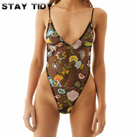 STAY TIDY Sexy Flower Embroidery Jumpsuit Women Summer Romper Black V neck Sheer Transparent Mesh Bodysuit Party Overalls