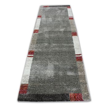 """Brown with Red, Rust & Ivory Rug Runner Size 2'10"""" X 9'11"""""""