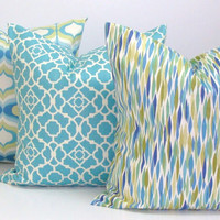 Blue Pillows.SET OF THREE.18x18 inch.Pillow Cover.Printed Fabric Front and Back..Celadon.Green