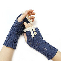Icon Collection Fashion Knit Hand Arm Warmers with Lace and Button Accents - Women (Navy)