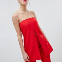 Missguided Peace And Love Split Front Bandeau Top at asos.com