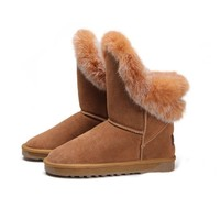 Fashion Rabbit Hair Winter Flat Boots for Women