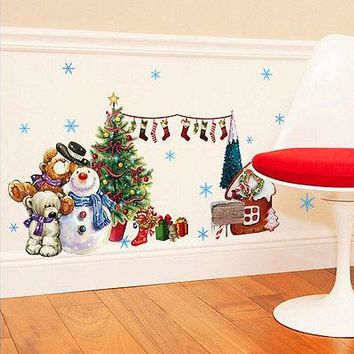 Christmas Wal Decal Happy Snowman Reindeer Snowflake Wall Decals Lovely Bear Xmas Socks Window Sticker Kids Living room Decor