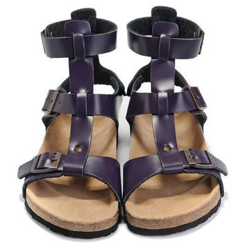 Birkenstock Leather Cork Flats Shoes Women Men Casual Sandals Shoes Soft Footbed Slippers-10