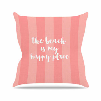 "Sylvia Cook ""Beach is My Happy Place - Coral"" Pink Typography Outdoor Throw Pillow"