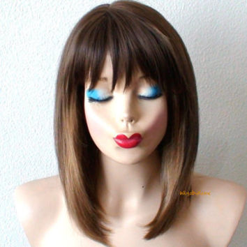Brown dirty blonde Ombre wig. Short Straight hairstyle Quality wig for daytime use or Cosplay