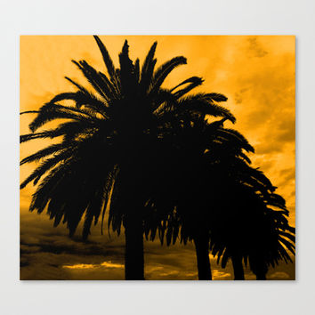 Palm Trees Silhouette - Golden Horizon Canvas Print by Moonshine Paradise