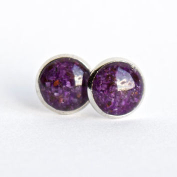 8mm Purple Sugilite Stud Earrings. Sugilite Studs, Sugilite Post Earrings, Lilac Sugilite Earrings. Sugilite Earrings.