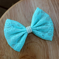 "4.5"" Blue lace hair bow, pastel blue lace bow, blue lace hairbow, lace bow hair clip, blue hair bow, mint blue, wedding bow, pearls bow"