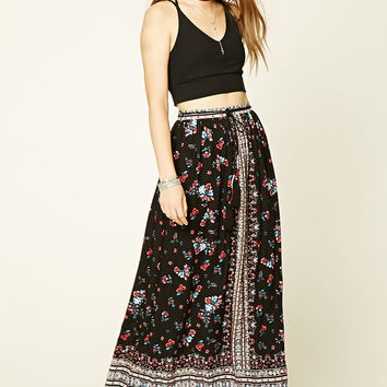 Belted Floral Print Maxi Skirt