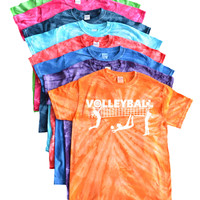 Volleyball Tie Dye T-Shirt- Players and Net Logo