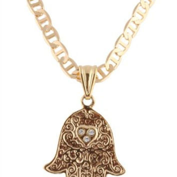 Two Year Warranty Gold Overlay Hamsa with Stoned Heart Pendant with a 19.5 Inch Valentino Chain Necklace