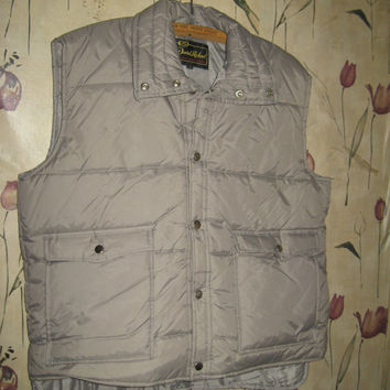 puffy vintage MEN'S QUILTED LINED Puffer grey vest by David Michael sz xlarge
