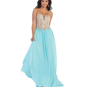 Aqua Strapless Illusion Deep V-Neck Beaded Chiffon Dress 2015 Homecoming Dresses