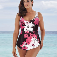 Print Floral High Waisted Bathing Suits Plus Size Swimwear LAVELIQ