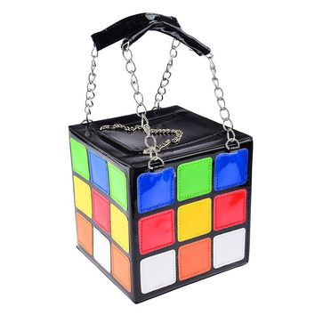 Garrelett Magic Cube Totes PU Leather Zipper Chain Wallet for Womens Girls Kids, Colorful Coins Cards Keys Phone Handbags Purses Makeup Cosmetic Organizer Bags